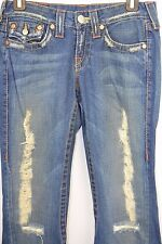 True Religion Women's Joey Row Seat Jeans Size 26 cotton Distressed USA Boot Cut