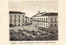 Stampa antica COSENZA Palazzo Prefettura e Monumento Calabria 1891 Old print