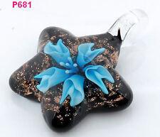 1pc novel star flower art lampwork art glass beaded pendant necklace p681