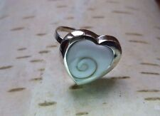 Shiva spiral shell handmade adjustable big HEART ring 925 Sterling silver