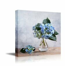 Blue Hortensia Flowers in Glass Vase, Still Life | Stretched Canvas Prints-16x16