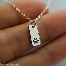 PAW PRINT TAG NECKLACE - 925 Sterling Silver Charm Necklace Dog Cat Pet Animal