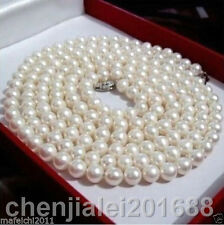 36 inch 8-9mm AAA perfect Akoya white cream pearl necklace 14k