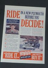 Original 1941 Print Ad PLYMOUTH Ride It and You'll Buy It! New Test Drive Art