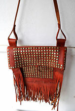 Rare '60s Vintage Fringed Studded Leather Crossbody Bag Messenger Unisex AWESOME
