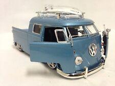 1963 Volkswagen Micro Bus Pickup w/Surfboard, 1:24 Diecast, Jada Toys, DSP, Blue