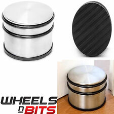 Round Heavy Weight Duty CHROME METAL DOOR STOP Rubber Floor Protector Stopper