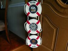 Nautical  3 life  bouy vtg clock ship steer wheel Welcome Aboard