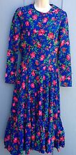 Rare Vintage 70s  BETSEY JOHNSON Alley Cat Blue Prairie Floral Print Dress S