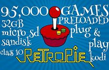 Rasberry Pi 32Gb SD Card  95000 ROM Retropie & Kodi Set Up plug and play