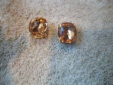 NOLAN MILLER Earrings AMAZING BIG Amber Faceted Crystals Goldtone Pierced New