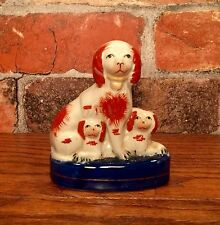 Staffordshire Red & White Spaniel Dog with Puppies Miniature Porcelain Figurine