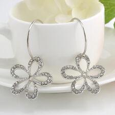 Beauty Hollow Flower Earrings Rhinestone Crystal Drop Dangle Ear Stud Hoop