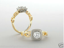 Halo Round Vintage Antique Style 14k White Yellow Gold Engagement Ring two tone