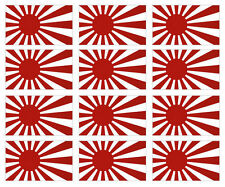 Rising Sun Flag Decal 12 pack Japan Vinyl Hard Hat Helmet Sticker 2""