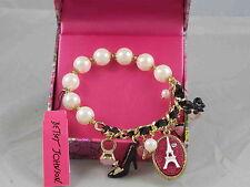 Betsey Johnson Goldtone Faux Pearl Eiffel Tower Ring Shoe Stretch Bracelet Boxed