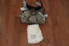 NWT $298 Coach F19843 Madison Python Print Maggie Purse Shoulder Bag Khaki/Multi