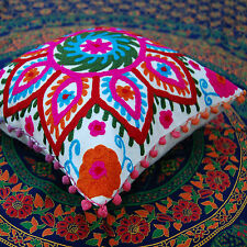 Indian Suzani Multi-color Pillow/Cushion Covers Embroidered Cases Square 16x16""