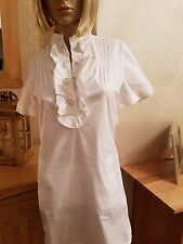 ELIE TAHARI white shirt tunic dress DETAILED BUTTONS SZ  SMALL 34 CHEST
