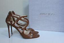 New sz 9 / 39 Jimmy Choo Leslie Curvy Caged Brown Leather Ankle Sandal Shoes