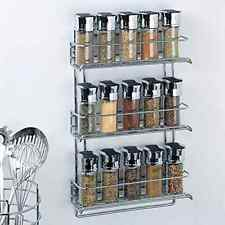 New 3 Tier Chrome Kitchen Spice Rack Mount Wall Cabinet Shelf Organizer Storage
