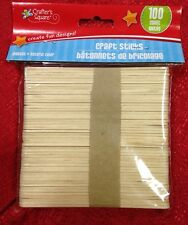 100 pcs NATURAL WOODEN POPSICLE STICKS Wood Craft Stick School Arts 3/8 X 4.5""