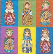 4x Single Table Paper Napkins for decoupage/folk/Russian doll/0453