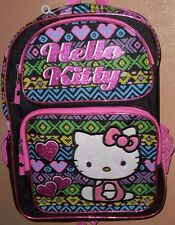 HELLO KITTY LARGE TRIBAL PRINT SCHOOL BACKPACK NEW! CANVAS NICE REFLECTIVE STRIP