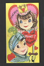 Vintage Valentines Day Card Knight in shining Armour & Sword Get the Point