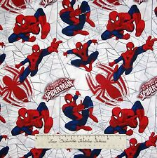 Marvel Comic Fabric - Ultimate Spider-Man Webs White - Camelot Cottons 18""