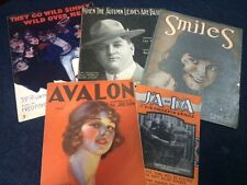 Rare LOT of 25 antique SHEET MUSIC vintage tablature early 1900's Jolson etc