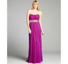 Marchesa Silk Pleated Beaded Empire Waist Strapless Formal Gown Size 2 NWT $995