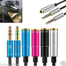 35cm 3.5mm Stereo Audio Male to 2 Female Headset Mic Y Splitter Kabel Adapter