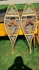 VINTAGE OLD Snowshoes 41x13 with leather bindings ANTIQUE