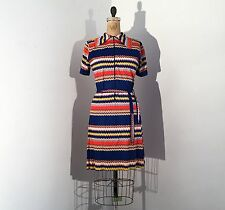 Vintage 1960s/70s Mod Op-Art Polyester Shift Dress 1970s/60s