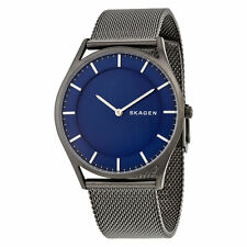 NEW - Skagen Holst Blue Dial Grey Ion-plated Stainless Steel Mens Watch SKW6223