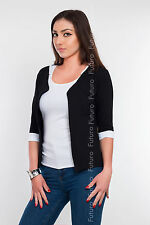 Elegant Women's Cardigan Jacket Style 3/4 Sleeve Blazer Shrug Sizes 8-18 8368