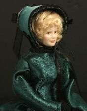 Doll House Miniature Blonde Lady in Teal Dress with Cape and Bonnet