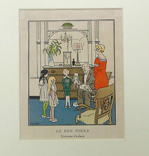 "Original 1914 gazette du bon ton Carlègle fashion print ~ ""Le Bon oncle"" pochoir"