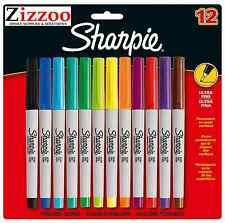 SHARPIE ULTRA FINE MARKER PENS - PERMANENT - PACK OF 12 - ASSORTED COLOURS