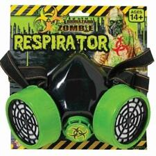 Biohazard Zombie Respirator Green and Black Faux Gas Costume Mask