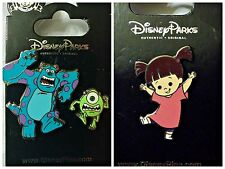 Disney Parks 2 Pin Lot MONSTERS INC Mike & Sulley Running set + Boo - New