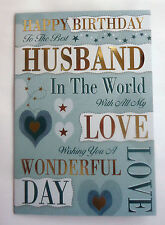 Happy Birthday To The Best Husband In The World...Bright Modern Word Design Card