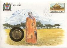 superbe enveloppe TANZANIE TANZANIA pièce monnaie 10 SENTI 1981 NEUF UNC  masai