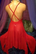 Victoria Secret Holiday Collection Red Sheer Asymmetrical Sweep Slip Mesh Gown S