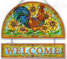 "ROOSTER HEN * AMIA WAKE UP CALL SUNFLOWERS 12"" WELCOME GLASS PANEL SUNCATCHER"