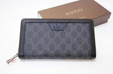 New Men's GUCCI Supreme Canvas Black  Zip Around Authentic Wallet