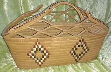 Large Circa 1900 Salish Indian Northwest Coast Imbricated Handled Basket