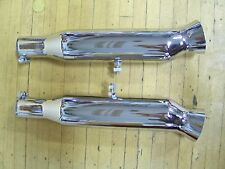 "Vintage NOS Chrome Chopper Bobber Cafe Motorcycle 1-1/2"" Shorty Turnout Mufflers"