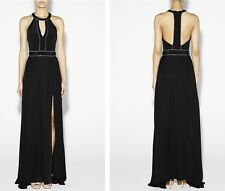 NEW NICOLE MILLER $440 BLACK CHAIN EMBELLISHED T-BACK GOWN MAXI DRESS SZ 6